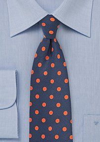 Navy Mens Tie with Tangerine Polka Dots