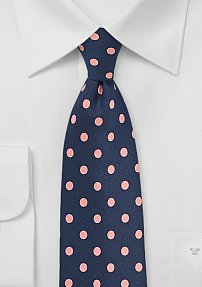 Navy Mens Tie with Large Pink Polka Dots