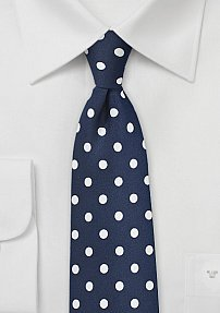 Navy and White Polka Dotted Necktie