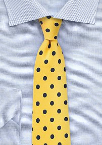 Daffodil Yellow Necktie with Dark Blue Dots