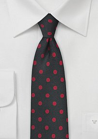 Jet Black Necktie with Bright Red Polka Dots