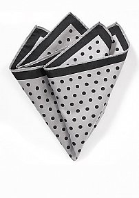 Gray Pocket Square with Black Dots