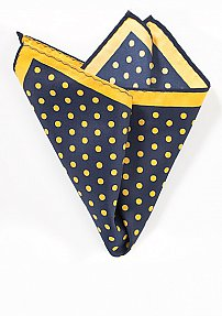 Polka Dot Hanky in Navy and Yellow