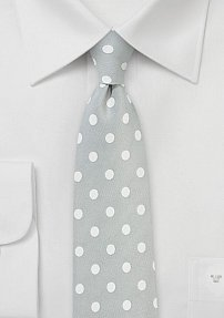 Large Polka Dot Print Tie in Silver and White