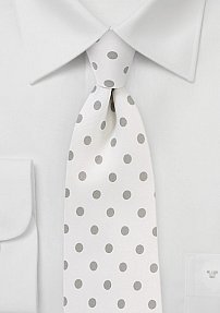 Bone White Necktie with Light Silver Polka Dots