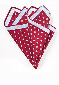 Cherry Red and Light Blue Polka Dot Pocket Square