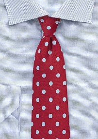 Fun Polka Dot Tie in Red and Light Blue