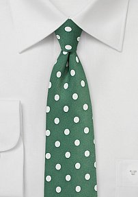 Polka Dot Tie in Cypress Green and Ivory