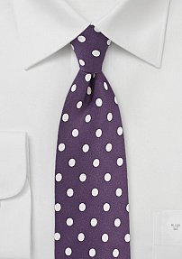 Deep Plum Colored Tie with White Polka Dots