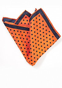 Carrot Orange Pocket Square with Navy Dots
