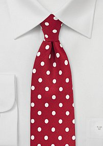 Tomato Red Mens Tie with White Polka Dots