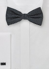 Black and Silver Pin Dot Bow Tie