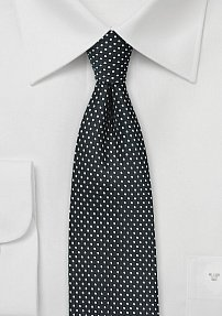 Slim Cut Black and Silver Pin Dot Tie