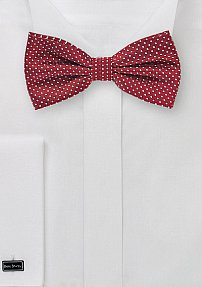 Pin Dot Bow Tie in Cherry