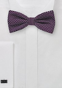Mens Bow Tie in Eggplant with Small Woven Dots