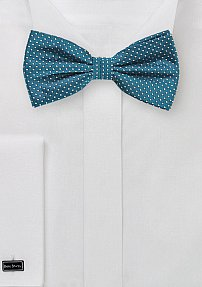 Pin Dot Bow Tie in Peacock