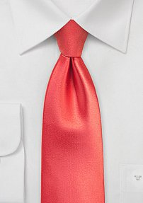 Solid Color Tie in Neon Coral in Extra Added Length