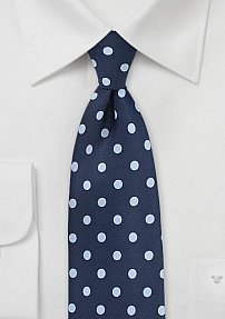 Blue Mens Tie with Large Polka Dots