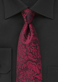 XL Sized Paisley Tie in Bordeaux Red