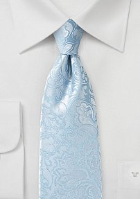 Capri Blue Paisley Tie in XL Length