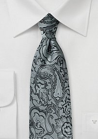 Charcoal and Silver Paisley Tie in XL