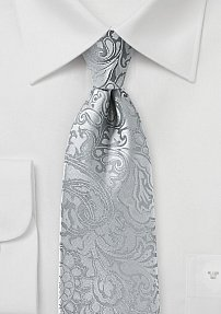 Silver Mens Tie with Paisley Print in XL Length
