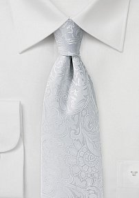 Floral Paisley Tie in Bright White