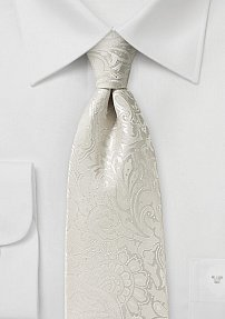 Floral Paisley Tie in Ivory with Added Length