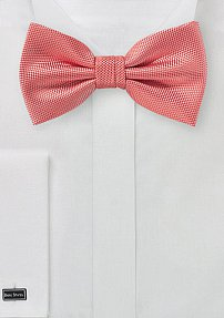Matte Textured Bow Tie in Neon Coral