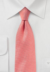 Microtextured Solid Tie in Neon Coral