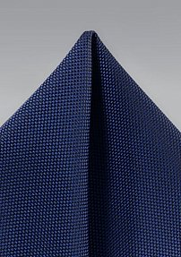 True Navy Blue Matte Woven Pocket Square