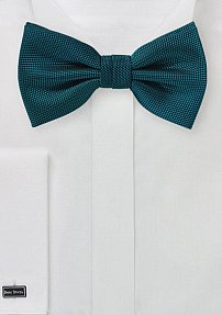 Matte Textured Bow Tie in Peacock