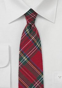 Tartan Plaid Skinny Necktie in Red, Hunter Green, Yellow