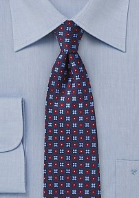Red and Blue Floral Designer Tie