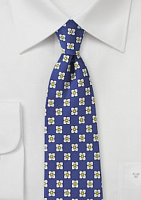 Geometric Floral Print Tie in Royal Blue