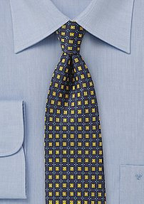Intricate Foulard Designer Tie in Midnight Blue