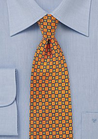 Fun Geometric Print Designer Tie in Bright Orange