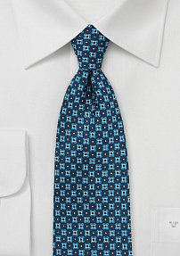 Geometric Print Silk Tie in Blue and Teal