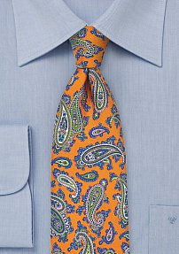 French Paisley Silk Tie in Tangerine and Blue