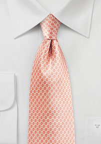 Coral Pink Geometric Print Tie on Satin Silk