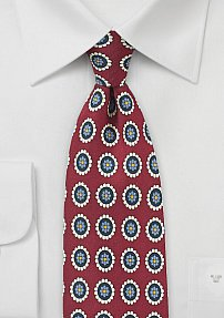Port Red and Cream Medallion Print Silk Tie