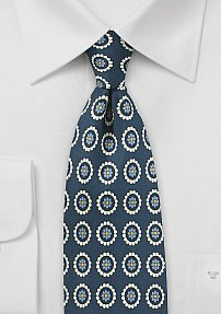 Medallion Print Silk Tie in Navy and Cream