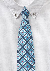 Mexican Tile Design Tie in Blue and Turquise