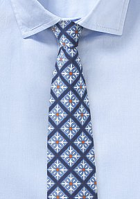 Mexico Tile Print Cotton Tie in Blue