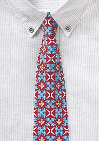 Colorful Mexican Tile Print Cotton Tie