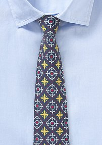 Mexican Tile Print Skinny Tie in Navy, Yellow, and Red