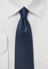 Pin Dot Tie in Navy in Pure Silk