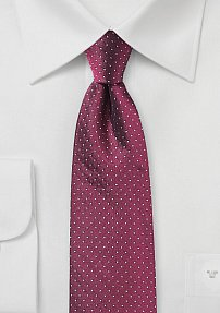 Elegant Pin Dot Silk Tie in Cherry Red