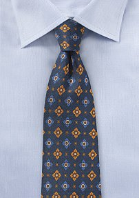 Vintage Floral Silk Tie in Navy and Orange