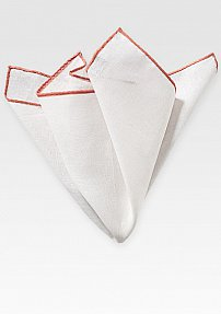White Linen Pocket Square with Coral Color Border